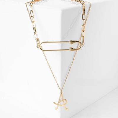 """Pendant """"Chain"""", letter A, color gold, 50 cm"""