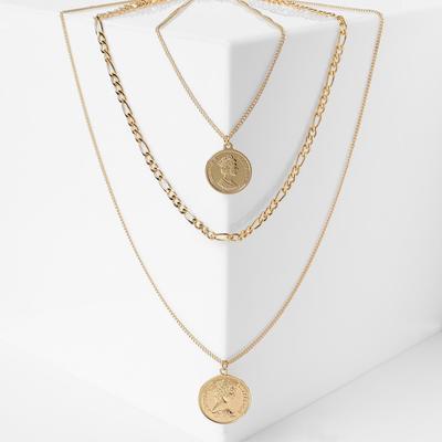 """Triple """"Chain"""" Royal pendant, gold color, 65cm"""