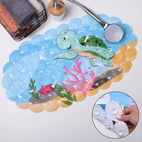 Коврик для ванны «Черепашка», 35×65 см, ракушка