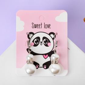 """Pearl earrings """"double Ball"""" sweet love, white in silver"""