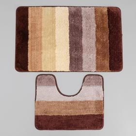 Набор ковриков для ванны и туалета «Хом», 2 шт: 79×50, 50×39 см, цвет коричневый