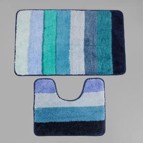 Набор ковриков для ванны и туалета «Хом», 2 шт: 79×50, 50×39 см, цвет голубой