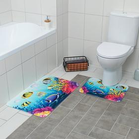 Набор ковриков для ванны и туалета Доляна «Аквариум», 2 шт: 79×50, 50×39 см
