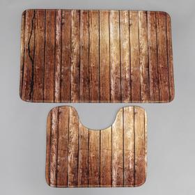 Набор ковриков для ванны и туалета Доляна «Досочки», 2 шт: 79×50, 50×39 см, цвет коричневый