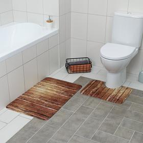 "Set of bath and toilet mats 2 PCs 79x50, 50x39 cm ""Boards"" color brown"
