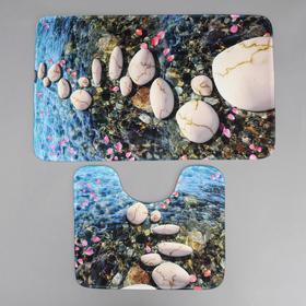 Набор ковриков для ванны и туалета «Галька», 2 шт 79×50, 50×39 см