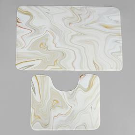 Набор ковриков для ванны и туалета «Мрамор», 2 шт: 79×50, 50×39 см, цвет бежевый