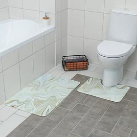 Набор ковриков для ванны и туалета Доляна «Мрамор», 2 шт: 79×50, 50×39 см, цвет бежевый