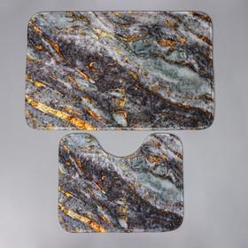 Набор ковриков для ванны и туалета Доляна «Мрамор», 2 шт: 79×50, 50×39 см, цвет серый