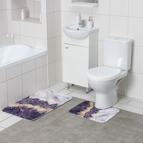 Набор ковриков для ванны и туалета Доляна «Мрамор», 2 шт: 79×50, 50×39 см, цвет серо-белый
