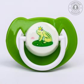 Соска-пустышка ортодонтическая, силикон, от 6 мес., с колпачком, «Лягушка», цвет зеленый