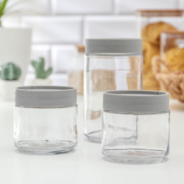 Набор банок для сыпучих продуктов «Модерн», 3 шт, цвет серый - фото 496296