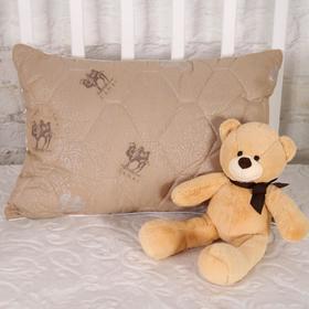Подушка стеганная Верблюжья шерсть 40х60 см, чехол тик, (сумка)