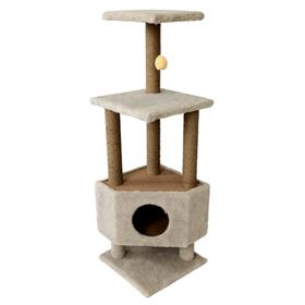Домик для животных с двумя полками, на столбах, 38,5 х 38,5 х 113 см, джут, тёмно-бежевый