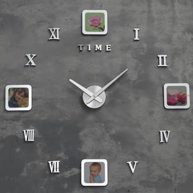 Часы-фоторамка наклейка, d=70 см, рамка 13х13 см, 1АА, плавный ход