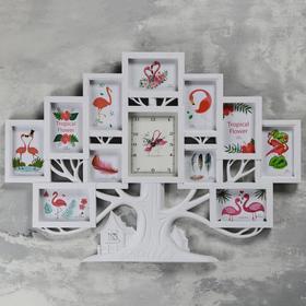 """Часы настенные, серия: Фото, """"Семейное дерево"""", плавный ход, 11 фото, 1АА, 82х3х58 см,белые"""