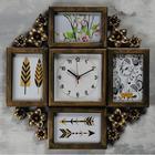 "Wall clock+4 photo frames, series: Photo, ""Flowers"", smooth running, 17*17 cm, 1 AA 45x42 cm"