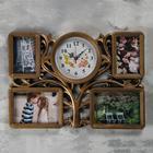 "Wall clock, 4 photo frames, series: Photo, ""Family tree"", Plav Hod, d-18 cm, 1AA 33x48cm"