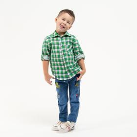 Рубашка для мальчика, цвет зелёный, рост 122