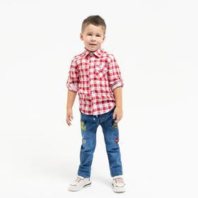 Рубашка для мальчика, цвет красный, рост 122