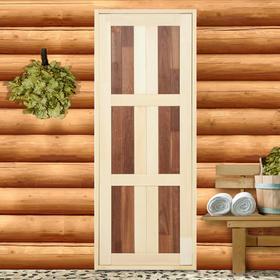 Дверь для бани,180×70см, комбинированная полок-термополок