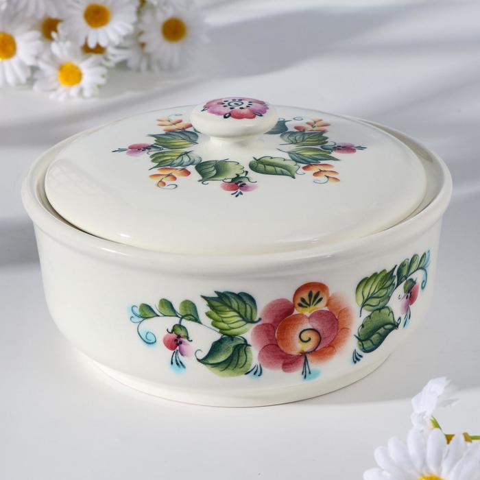 """Салатник """"Зеленый горошек"""" цветы, 1 литр, 1 сорт - фото 852044"""