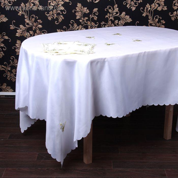 """Столовый комплект """"Букет золото"""", размер 150х220 см, 27х27 см - 12 шт., 100% полиэстр"""