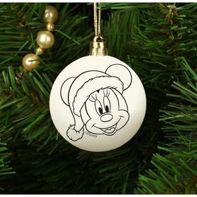 """Новогоднее елочное украшение под раскраску """"С Новым годом"""" Минни Маус, размер шара 5,5 см"""