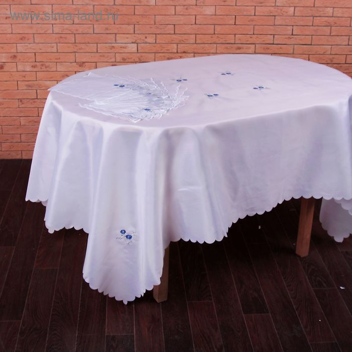 "Столовый комплект ""Незабудка"", размер 150х220 см, 27х27 см - 12 шт., 100% полиэстр"