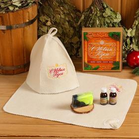 """Банный набор """"С новым годом"""" шапка, коврик, 2 масла, мыло"""