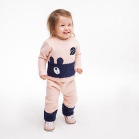 Комплект для девочки (джемпер, брюки), цвет розовый/синий, рост 104 см
