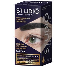 Комплект для окрашивания бровей Studio Professional Volume Up с эффектом татуажа , тон экстра-чёрный