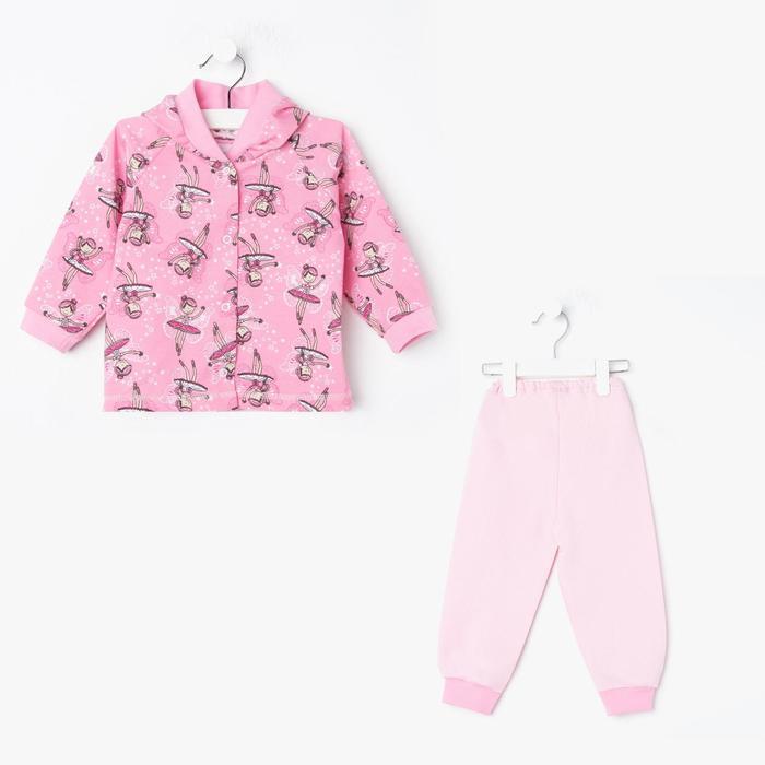 Костюм детский НАЧЁС, цвет розовый/рис. балерины, рост 80 см - фото 76779891