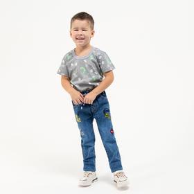 Футболка для мальчика, цвет серый/динозавр, рост 104 см