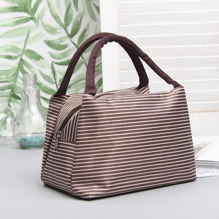 "Косметичка-сумочка на молнии ""Морячка"", 2 ручки, 1 отдел, цвет коричневый"