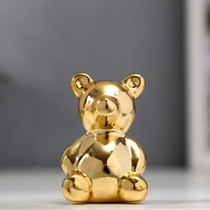 "Сувенир керамика ""Золотой медвежонок"" 5,5х3,5х3,3 см"