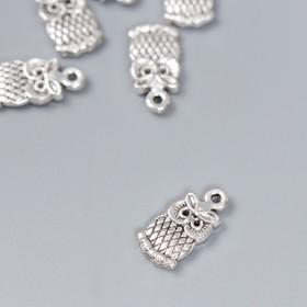 "Decor for creativity metal ""Little owl"" silver 1x0, 7 cm"