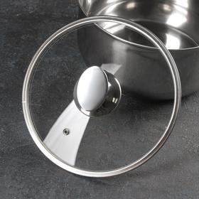 Крышка стеклянная с металлическим ободом, d=22 см, с овальной ручкой