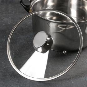 Крышка стеклянная с металлическим ободом, d=24 см, с овальной ручкой