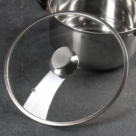 Крышка стеклянная с металлическим ободом, d=28 см, с овальной ручкой