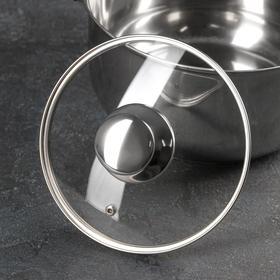 Крышка стеклянная с металлическим ободком, d=18 см, с круглой ручкой