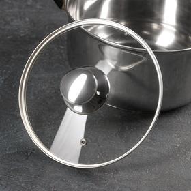 Крышка стеклянная с металлическим ободком, d=20 см, с круглой ручкой