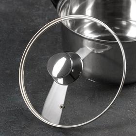 Крышка стеклянная с металлическим ободком, d=22 см, с круглой ручкой