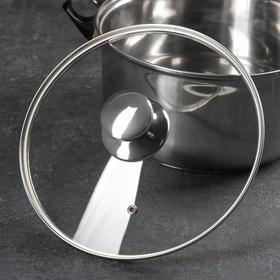 Крышка стеклянная с металлическим ободком, d=24 см, с круглой ручкой