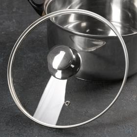 Крышка стеклянная с металлическим ободком, d=26 см, с круглой ручкой