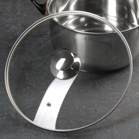Крышка стеклянная с металлическим ободком, d=28 см, с круглой ручкой