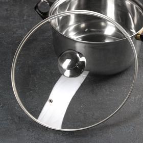 Крышка стеклянная с металлическим ободком, d=30 см, с круглой ручкой