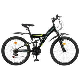 """Велосипед 24"""" Progress модель Sierra FS RUS, цвет черный, размер 15"""""""