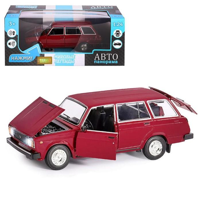 Машина металл «ВАЗ 2104» 1:24, инерция, цвет бордовый, открываются двери, капот и багажник - фото 76720257