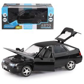 Машина металлическая «ВАЗ 2112» 1:22, инерция, цвет чёрный, открываются двери, капот и багажник